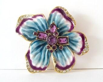 Liz Claiborne Brooch Enamel Flower Rhinestone Brooch Pin Purple Blue Gold Tone Metal from TreasuresOfGrace