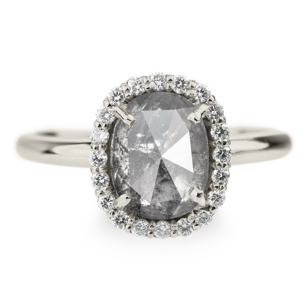 2 33 Carat Grey Diamond Halo Engagement Ring by PointNoPointStudio