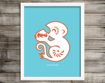 Year of the Monkey Modern Home Decor Wall Art  8X10 ~ Digital Download.