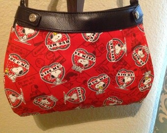 Snoopy valentines print SUITE skirt purse skirt cover handmade Thirty one
