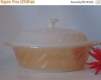 MOVING SALE Vintage Anchor Hocking Fire King Lusterware Swirl Pattern 1 Quart Casserole Dish and Lid. Perfect Condtion.