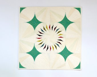 Triangle Wall Hanging, Modern Wall Decor, Quilted Wall Hanging, Fiber Art, Textile Art, Geometric Quilt