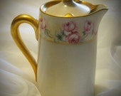 20% Heart Sale Antique-Vintage Limoges Pink Rose Teapot With Gold Trim-5 1/2 Inches Tall