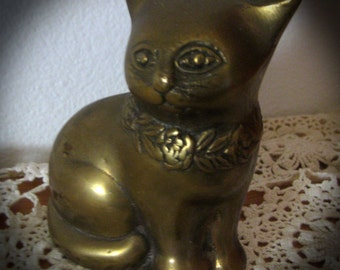 Brass Cat Solid Brass Figurine-Paperweight