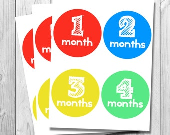 Primary Colored Monthly Onesie Stickers