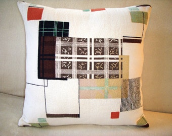 Bark Cloth Pillow Cover 1950s Eames Era Mid Century Squares Lines Turquoise Rust Cream Black Brown Zipper