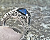 Gothic Ring Black Swarovski Ring Sterling Silver Unisex Ring Gothic Engagement Ring Adjustable Ring Gothic Jewelry