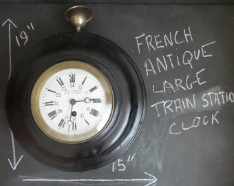 RARE 1850s Large Train Station Wall Clock. Paul Garnier Industrial Railway Station Clock