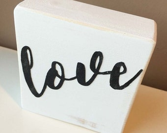Love - wooden block - black and white