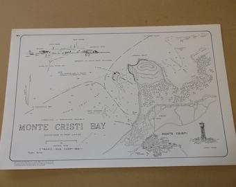 "Vintage 1978 Caribbean Nautical Map ""Monte Cristi Bay"" Hispaniola- Dominican Republic"