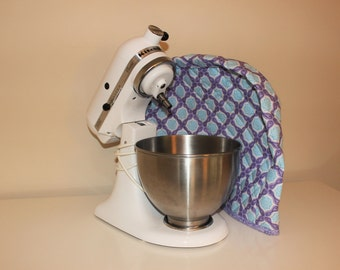 4 and 5 quart Twist-In Bowl - Quilted Mixer Cover for Kitchen-Aid - Purple and Light Blue Medallion Print
