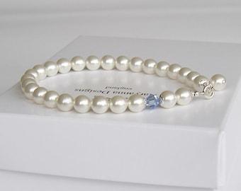 Something blue pearl bridal bracelet, custom colours available, pearl wedding bracelet, wedding jewelry, bridal jewellery, brides bracelet