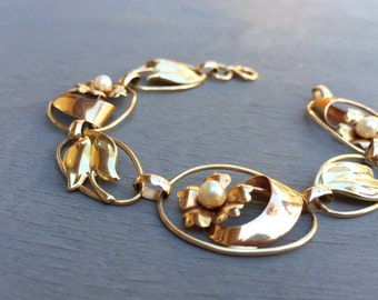 Vintage 10k Gold Flower Bracelet Genuine Pearl Bracelet Vintage Fine Jewelry Gift for her