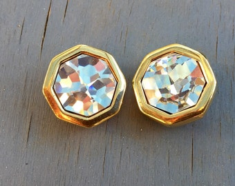 Vintage Designer Earrings Large Crystal Gold Clip Ons 1980s Swarovski SAL Jewelry