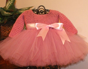Toddler Tutu Dress With Flower Headband Baby Girl Tutu Dress Pink Long Sleeve Tutu Dress Pageant Tutu Flower Girl Tutu Dress