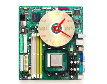 Geeky Wall clock - recycled Computer clock - green circuit board clock - ready to ship c6004