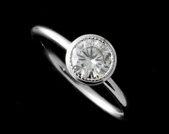 First Payment for Bezel Set Moissanite Engagement Ring, Antique Solitaire Engagement Ring, Plain Rounded Shank Ring,