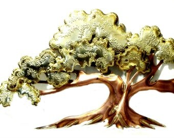 Vintage Metal Tree Wall Sculpture 3D Copper Gold Bronze Tone Oak Tree Jere Style Mid Century Decor