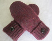 Women's large wool mittens wine colored fleece lined  RTS