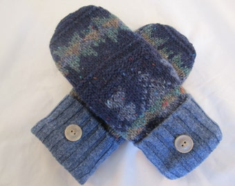 Women's wool mittens shades of blue fleece lined size medium RTS