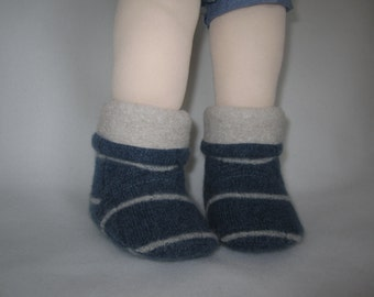 NEW Infant or toddler cashmere sock booties blue striped size 6 to12mos. Fleece lined RTS  sock booties