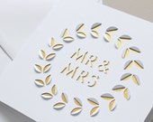 Papercut Mr & Mrs Leaf Card
