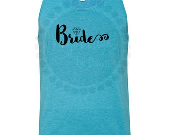 Bride ~ Glitter ~ Wedding Ring ~ Bridal Party ~ Maid of Honor ~ Bridesmaids ~ Tank Top