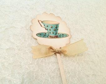 Cupcake toppers-Teacup Tea Party Cupcake Toppers Picks-Cupcake Picks Favors-Set of 12