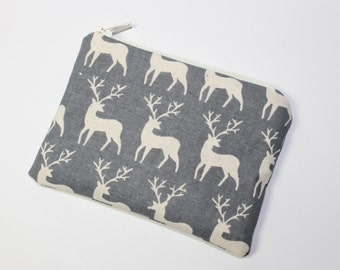Coin purse, change purse, Christmas purse, Scandinavian print, grey with stag