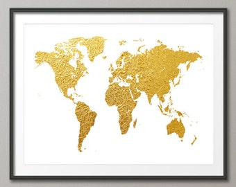 World Map Gold, Map of the World Gold, Art Print (2465)
