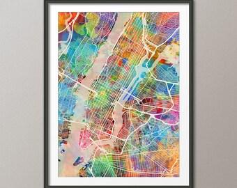 New York City Street Map USA, Map of NYC, Art Print (2349)