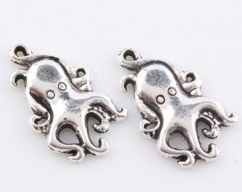 10 Octopus Charms, Antique Silver 18 x 10 mm, U.S Seller - ts942