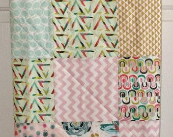 Baby Blanket, Baby Quilt, Toddler Quilt, Aqua Pink Gold Patchwork Quilt, Baby Blanket/Quilt