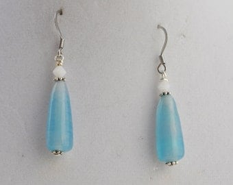 Aqua Blue Glass Drop Earrings