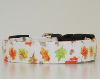 Thanksgiving Autumn Leaves Watercolor Fall Dog Collar Wedding Accessories Made to Order