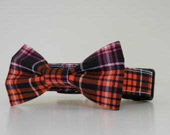 Halloween Orange and Black Plaid Bow Tie Dog Collar Fall Winter Made to Order