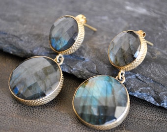 LABRADORITE DANGLING POST earrings