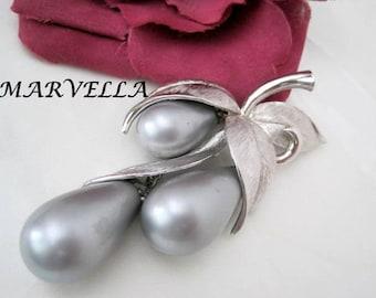 Baroque Pearl Brooch-  Signed Marvella - Silver Dangle  Pin