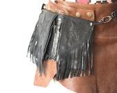 Sexy hip belt, utility belt, black leather bag, burning man style, festivals accessory, steampunk tribal chic
