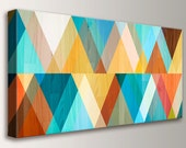 "Mid Century, Wall Art, Teal and Coral Print, Mid Century Modern Art -  Canvas Decor, Geometric Art, Turquoise Orange Yellow - ""Juxtaposed"""