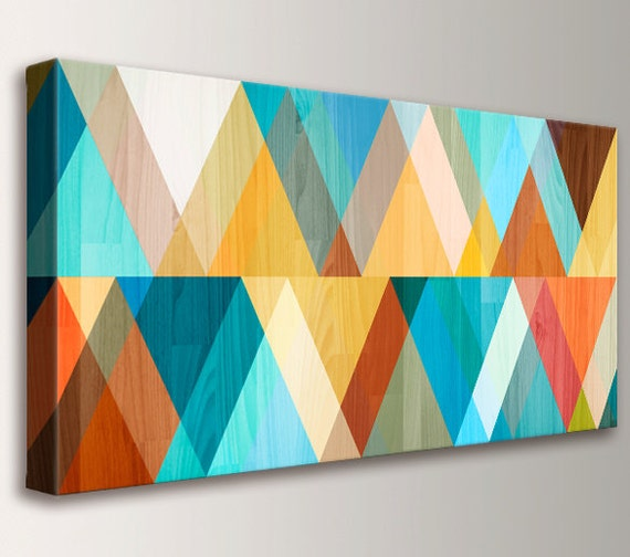 "Mid Century Modern, Teal and Coral Print, Mid Century Modern Art -  Canvas Decor, Geometric Art, Turquoise Orange Yellow - ""Juxtaposed"""