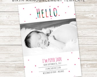 Hi There, Modern Birth Announcement, Photo Birth Announcement, Digital File, Custom Photo Birth Announcement, Baby Boy, Baby Girl