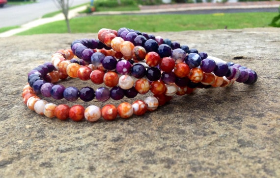 Purple & Orange Faceted Agate Stack Bangles