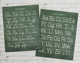 Vintage Alphabet Classroom Poster Digital Chalkboard Word Art 16x20 - Cursive and Manuscript Print- INSTANT DOWNLOAD