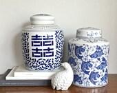 Vintage Chinese Ginger Jar Blue White Ceramic Ginger Jar Koi Fish Chinoiserie Chic