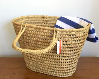Vintage Seagrass Rattan Handled Basket Storage Market Basket Coastal Beach Decor