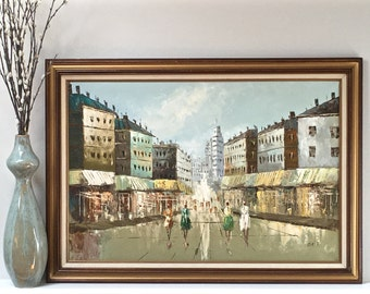 Large Vintage Paris Oil Painting French Street Scene Original Signed Mid Century Art *Local CHICAGO DELIVERY only*