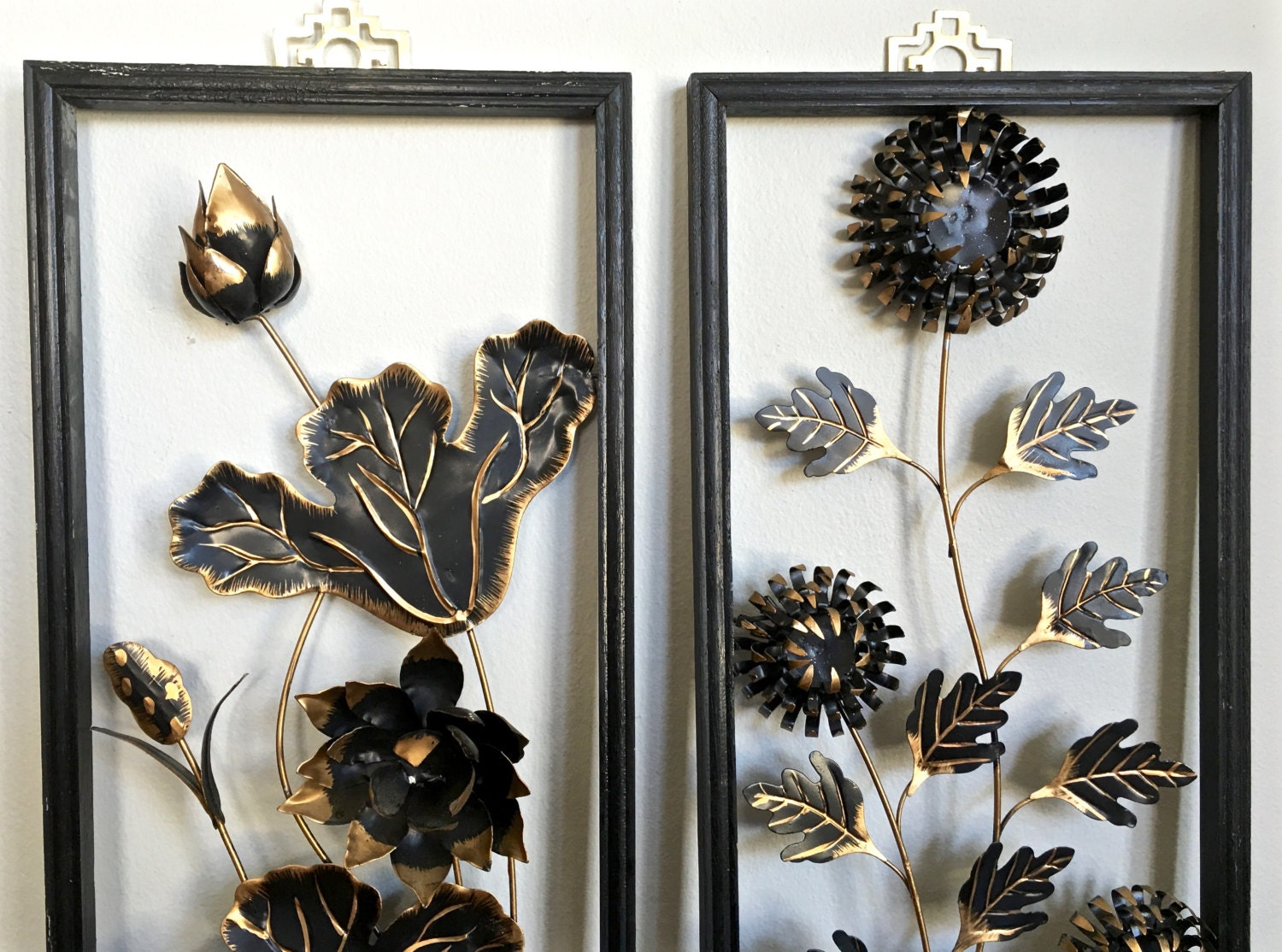 Oriental Metal Wall Decor : Mid century asian metal wall art panels gold black by