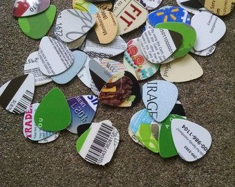 55 Guitar Picks from Recycled Cards