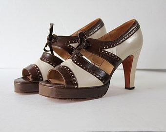 70s Platform Shoes Oxford Leather Pumps High Heels Peep Toe Made in Spain